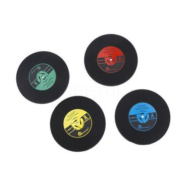 DCCKL72 1Pcs Silicone Retro Vinyl CD Record Coasters Home Table Cup Mat Coffee Placemat Novelty Cup Cushion Drinks Holder Dining Decor