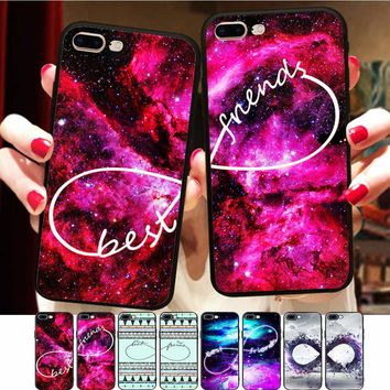 Minason Space Nebula Case For iPhone 8 Case BFF Silicone Phone Cover Matching Best Friends Case For iPhone X 6 6S 7 Plus 5 5S SE