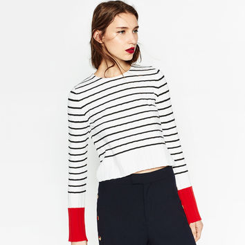 SWEATER WITH CONTRASTING CUFFS