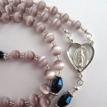 Cats Eye Rosary, Pink Cats Eye Beads, Catholic Rosary, Miraculous Medal, Catholic Prayer Beads