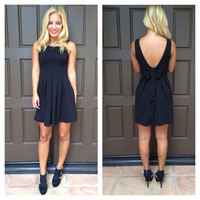 Beaded & Bow Back Dress - BLACK