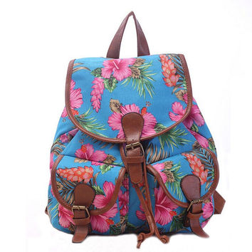 Women's Canvas Blue Floral Backpack School Daypack Travel Bag