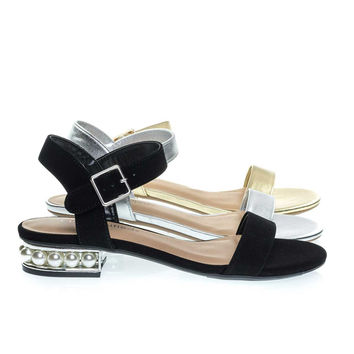 Carisa Black By City Classified, Low Block Heel Sandal w Pearl Balls In Metallic Heel & Adjustable Strap