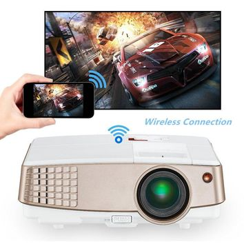 Portable HD Wireless Airplay Projector for iPhone iPad Android, Wifi HDMI USB VGA AV Built-in Speakers, LED LCD Android Projector 2600 Lumens for Movies Games DVD TV Home Theater Outdoor Party