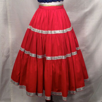 SALE !!! 1950s Red Squaw Square Dance Skirt . 1950s Rockabilly Swing Skirt