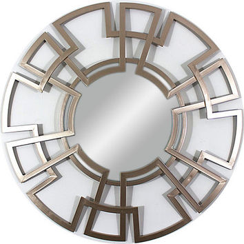 Champagne Foiled Lattice Round Mirror