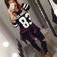 Brand Fashion Autumn&winter Number 83 Women Sweatshirt Black Pullover Hoodies Long Sleeve Warm Tracksuits Casual