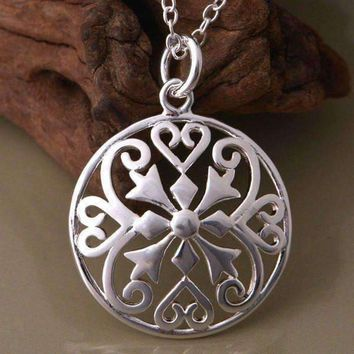 Renaissance Medallion Sterling Silver Necklace