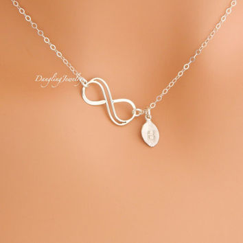 Double Infinity Necklace, SILVER Initial Necklace, Eternity Necklace, Sister Necklace, Mother Day Gift, Figure 8, New Mom Gift, Girlfriend