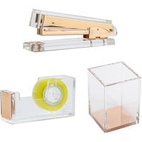 3pcs/set Gold Acrylic Desk Set