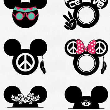MOUSE Ears Svg Mouse Head Svg Mouse Monogram Svg Hippy Svg Hippy Frame Svg Cricut Silhouette Studio Cut Files Dxf Png Jpg Eps Pdf Iron On