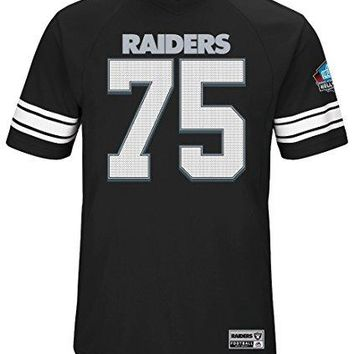 "Howie Long Oakland Raiders Majestic NFL Men's ""HOF Hashmark 3"" Jersey Shirt"