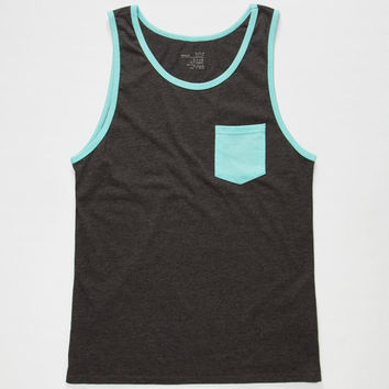 Blue Crown Contrast Mens Pocket Tank Charcoal  In Sizes