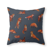 Society6 Foxes Throw Pillow