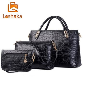 New Brand Composite Bag Women Handbags PU Leather Messenger Bags Design Hot Style Ladies Tote Bag Handbag+Shoulder Bag+Purse