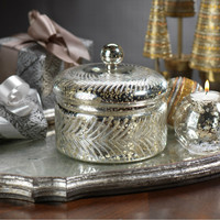 Antique Silver Cut Glass Jar with Lid