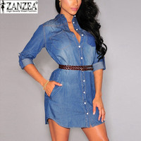 Retro Denim Dresses 2015 Autumn Women Trendy Sexy Casual Long Sleeve Lapel Single Breasted Jeans Mini Dress Vestidos Plus Size
