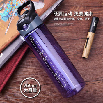 Large capacity Plastic Water Bottle Straw Handy Cup students Easy Carry No BPA  Simple Space Cup Portable Water Travel Bottle