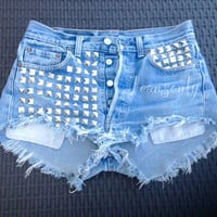 Levis High waisted denim shorts Hipster Tumblr studded clothing