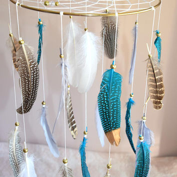 Dream Catcher Baby Mobile, Woodland Nursery Mobile, Baby Boy Nursery Decor, Native American Tribal Style, Teal Grey Nursery Decor