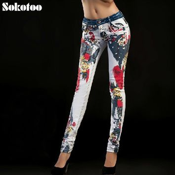 Sokotoo Women's print jeans female trousers colored drawing flower slim denim trousers thin skinny jeans