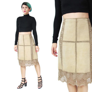 Crochet Leather Skirt Hippie Boho Patchwork Leather Skirt Vintage Tan Suede Leather Skirt High Waist Cut Out Hand Knit Danier Leather (L/XL)