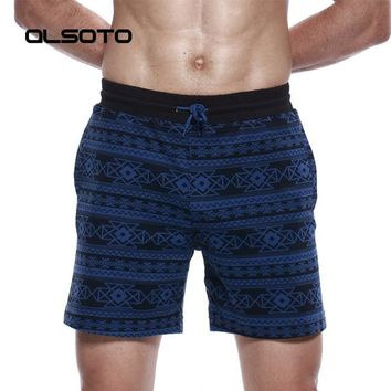 ALSOTO Summer Men Sports Shorts Loose Fitness Sexy Printing Cotton Beach Bermuda Surf Board Quick Dry Arrow Pants