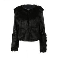 Black Faux Fur PU Leather Long Sleeve Motorcycle Jacket Outerwear