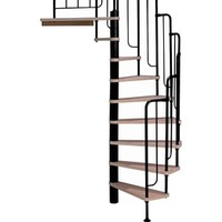 Shop DOLLE Barcelona 25.75-in x 9.5-ft Black with Wood Treads Spiral Staircase Kit at Lowes.com