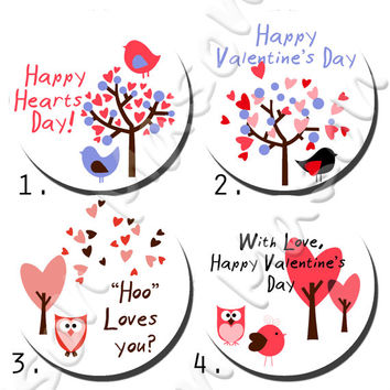 "Instant Download Printable Happy Valentine's Day Love Birds Assorted Template/PDF Download - 2"" round labels"