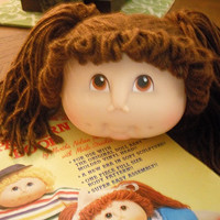 vintage CABBAGE PATCH doll Head with pony tails ... PLUS a pattern book The Original Doll Baby