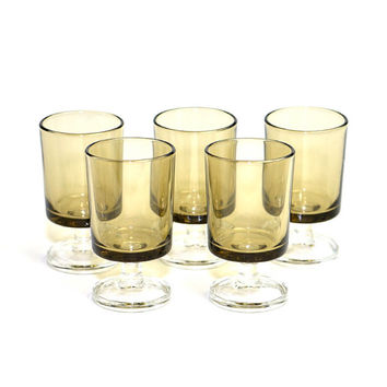 "Gold Smoke Glass Cordial Stemware Set (5) - Luminarc France, Small Size Demitasse Liqueur ""Shot Glass"" - Vintage Home Bar Decor or Serving"