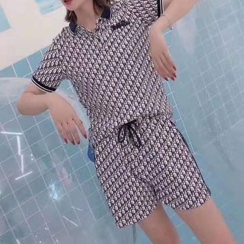 """""""DIOR """" Woman's Leisure  Fashion  Letter Printing   Short Sleeve ShortsTwo-Piece Set Casual Wear"""