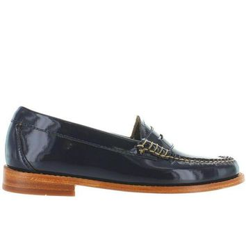 ONETOW Bass Weejuns Whitney - Navy Patent Leather Classic Penny Loafer