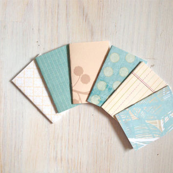 Notebooks: 6 Tiny Journal Set, Blue, Cream, Wedding, Favors, Small Notebooks, For Her, For Him, Gift, Unique, Mini Journals, Party, T017