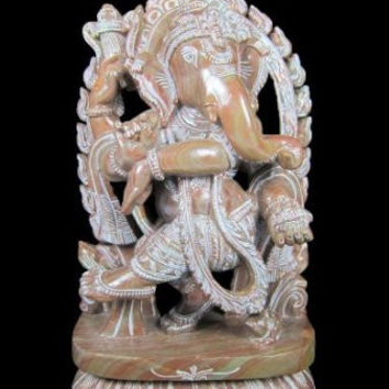 Dancing Ganesha Yoga Decor Spiritual Statue Good Luck Lord Ganesha Stone Sculpture 12 Inches