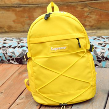 Supreme Fashion Casual Sport Daypack Bookbag Shoulder Bag Travel Bag School Backpack Yellow G