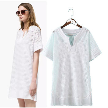 Stylish V-neck Short Sleeve Cotton Hollow Out Embroidery Women's Fashion Bottom & Top One Piece Dress [5013110980]