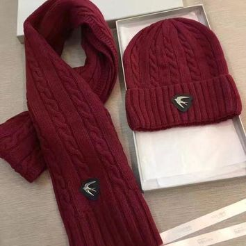 ESBON Alexander McQueen Fashion Beanies Knit Winter Hat Cap Scarf Scarves Set Two-Piece