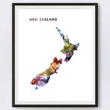 New Zealand Print, Watercolor Map, New Zealand Poster, Travel, Landscape, Wellington, Colorful, Download, Home Decor, Wall Art