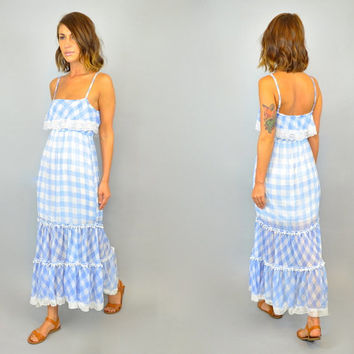 vtg 80s GINGHAM MAXI blue + white checkered boho picnic summer lace overlay DRESS, extra small-medium