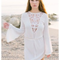 Caden - White bell sleeves dress with V lace neckline details. Also available in black.