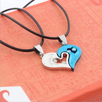 2015 Fashion couples pendant heart-shaped diamond necklace HB302 = 1929573188