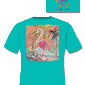 SALE Sassy Frass Stand Tall Darlin Flamingo Comfort Colors Bright Girlie T Shirt