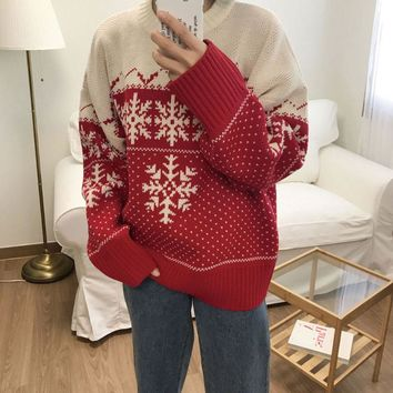 Vintage Ugly Christmas Sweater Snowflake Print Knitted Jumper Long Sleeve Women's Sweaters 2018 Autumn Winter Loose Pullover
