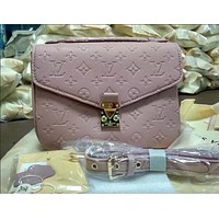 LV Louis Vuitton Trending Women Candy Color Shopping Leather Shoulder Bag Handbag Crossbody Pink I