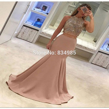 Long Formal Evening Dress Elegant Two Pieces Mermaid Evening Gowns Beading Prom Party Dresses 2017 vestido de festa