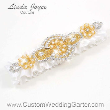 White and Gold Vintage Wedding Garter Bridal Rhinestone 112 White Beaded Pearl Satin Luxury Prom Garter Plus Size & Queen Size Available