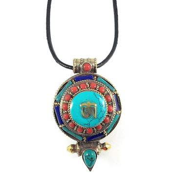 """Tibetan Pendant Pressed Turquoise and Red Coral Stones 32mm x 55mm x 24mm Black Leather Cord 18"""""""