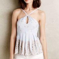 Embroidered Peplum Halter by Moulinette Soeurs Sky